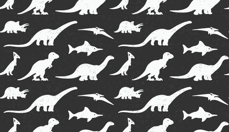 mesozoic: Vector set white silhouettes of dinosaur on black background. Animal vector illustration, retro pattern background. Ideal for cards, invitations, party, banners, kindergarten, textile, wallpaper