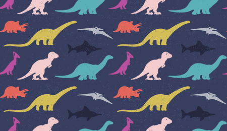mesozoic: Vector set colorful silhouettes of dinosaur on black background. Animal vector illustration, retro pattern background. Ideal for cards, invitations, party, banners, kindergarten, textile, wallpaper Illustration