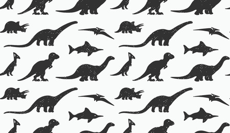 dinosaurus: Vector set black silhouettes of dinosaur on white background. Animal vector illustration, retro pattern background. Ideal for cards, invitations, party, banners, kindergarten, textile, wallpaper