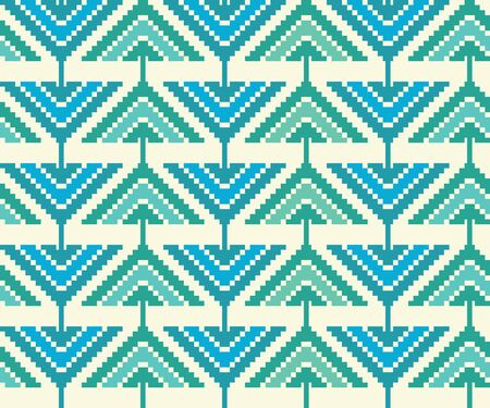 zag: Abstract geometric seamless pattern. Aztec style pattern with triangle, squares and pixels. Simple zig zag ornament. Modern pastel wallpaper