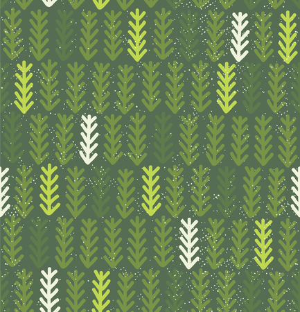 conifer: Modern pattern with fir branches. Vector illustration. Hand drawn green spruce wallpaper