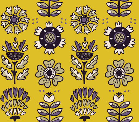 awesome wallpaper: Awesome vector seamless patter of graphic leaves and flowers. Yellow vector background. Bright illustration, can be used for creating card, invitation card for wedding, wallpaper and textile. Illustration