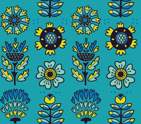 awesome wallpaper: Awesome vector seamless patter of graphic leaves and flowers. Blue vector background. Bright illustration, can be used for creating card, invitation card for wedding, wallpaper and textile.