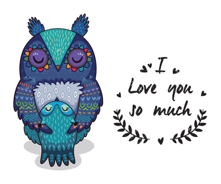 love mom: Cute vector card with mother and child owls. Lovely card with hearts and text I love you so much
