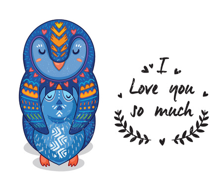 love mom: Cute vector card with mother and child penguins. Lovely card with hearts and text I love you so much