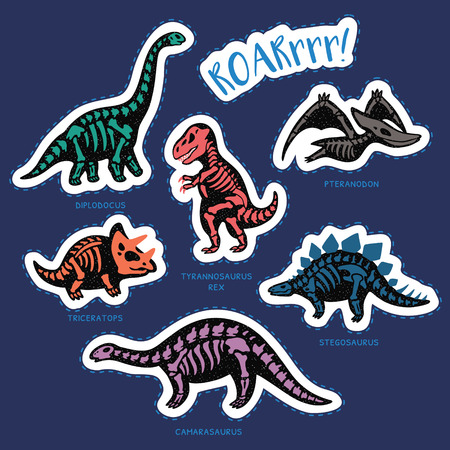 fossil: Collection of stickers with fossil dinosaurs in cartoon style. Cartoon fossil dinosaurs set sticker. Vector illustration