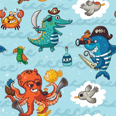 海賊漫画のスタイル パターン。明るい色の海賊、ワニ、タコ、サメ、カニ、カモメ、オウム、ラム酒の瓶の素晴らしい背景