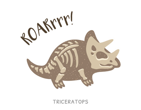 fossil: Cartoon card with a triceratops skeleton and text Roar. Fossil of a Triceratops dinosaur skeleton. Cute dinosaur on white background