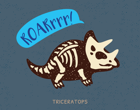 fossil: Cartoon card with a triceratops skeleton and text Roar. Fossil of a Triceratops dinosaur skeleton. Cute dinosaur on blue background Illustration