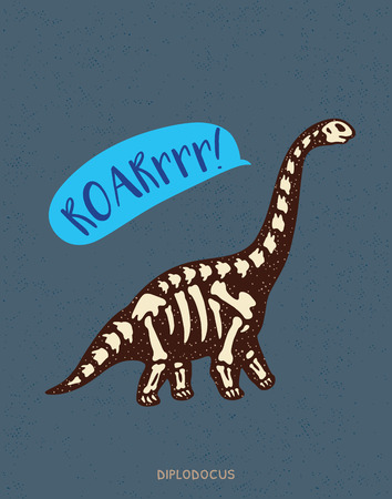 diplodocus: Cartoon card with a diplodocus skeleton and text Roar. Fossil of a diplodocus dinosaur skeleton. Cute dinosaur on white background on blue background Illustration
