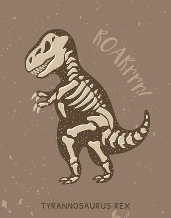 tyrannosaurus rex: tarjeta de dibujos animados con un tiranosaurio Rex esqueleto y texto rugido. Fósil de un esqueleto de dinosaurio de T-rex. dinosaurio lindo en el fondo marrón