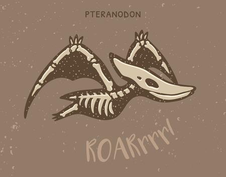 pteranodon: Cartoon card with a pteranodon skeleton and text Roar. Fossil of a pteranodon dinosaur skeleton. Cute dinosaur on brown background Illustration