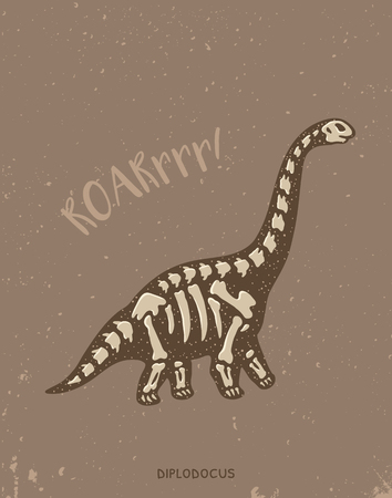 fossil: Cartoon card with a diplodocus skeleton and text Roar. Fossil of a diplodocus dinosaur skeleton. Cute dinosaur on brown background on blue background