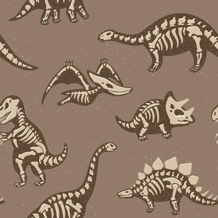 large skull: Funny sketchy fossil dinosaurs background. Cartoon fossil dinosaurs seamless pattern. Vector illustration