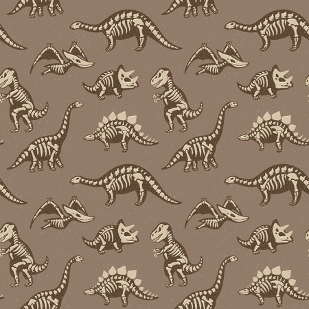 Funny sketchy fossil dinosaurs background. Cartoon fossil dinosaurs seamless pattern. Vector illustration
