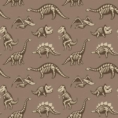 Funny sketchy fossil dinosaurs background. Cartoon fossil dinosaurs seamless pattern. Vector illustration Vektoros illusztráció