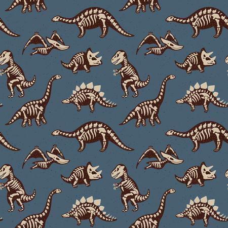 Funny sketchy fossil dinosaurs background. Cartoon fossil dinosaurs seamless pattern. Vector illustration 版權商用圖片 - 56651227