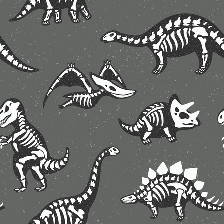 Funny sketchy fossil dinosaurs background. Cartoon fossil dinosaurs seamless pattern. Vector illustration Stock Vector - 56651229
