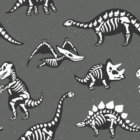 Funny sketchy fossil dinosaurs background. Cartoon fossil dinosaurs seamless pattern. Vector illustration