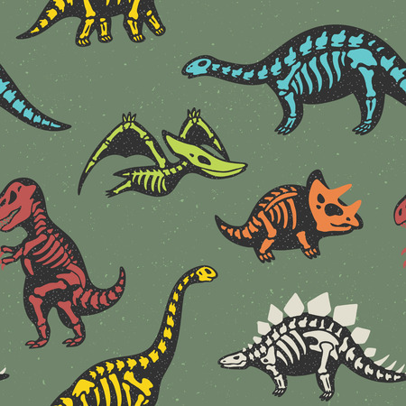 fossil: Funny sketchy fossil dinosaurs background. Cartoon fossil dinosaurs seamless pattern. Vector illustration