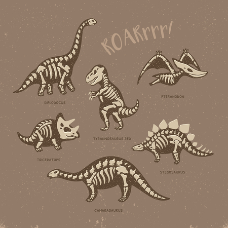 Funny sketchy fossil dinosaurs print with text Roar. Cartoon fossil dinosaurs card. Vector illustration Vettoriali
