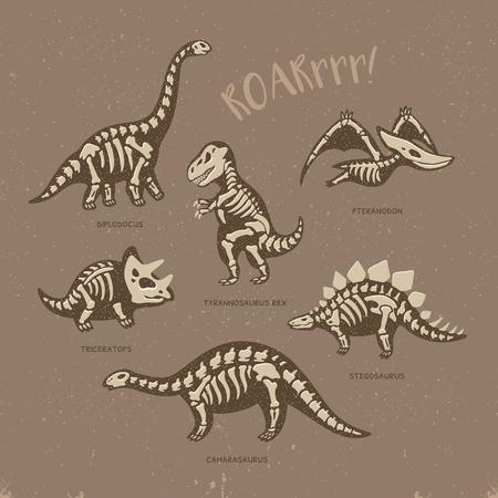 Grappig schetsmatige fossiele dinosaurussen af te drukken met de tekst Roar. Cartoon fossiele dinosaurussen kaart. vector illustratie Vector Illustratie