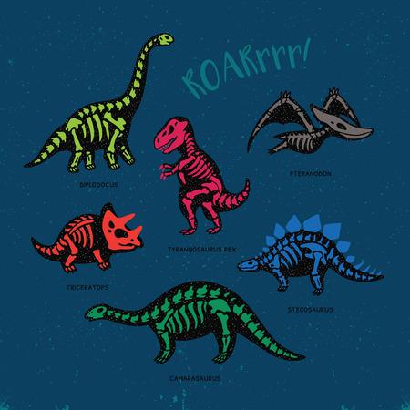 Funny sketchy fossil dinosaurs print with text Roar. Cartoon fossil dinosaurs card. Vector illustration Stock Illustratie