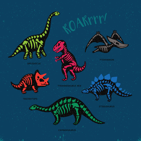 Funny sketchy fossil dinosaurs print with text Roar. Cartoon fossil dinosaurs card. Vector illustration Illustration