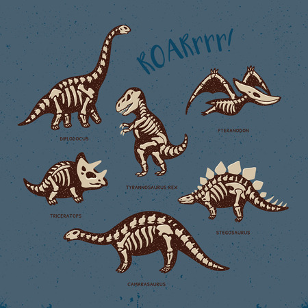 Funny sketchy fossil dinosaurs print with text Roar. Cartoon fossil dinosaurs card. Vector illustration Vettoriali