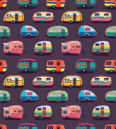 Cute little vintage travel trailers in color on a dark background. Vector seamless pattern