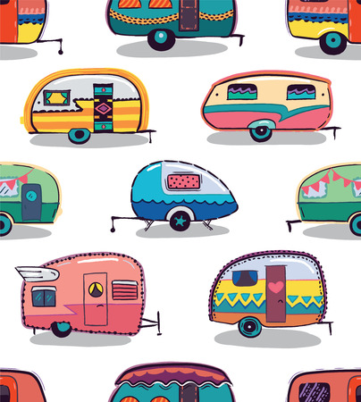 Cute little vintage travel trailers in color on a white background. Vector seamless pattern