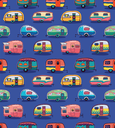 Cute little vintage travel trailers in color on a blue background. Vector seamless pattern