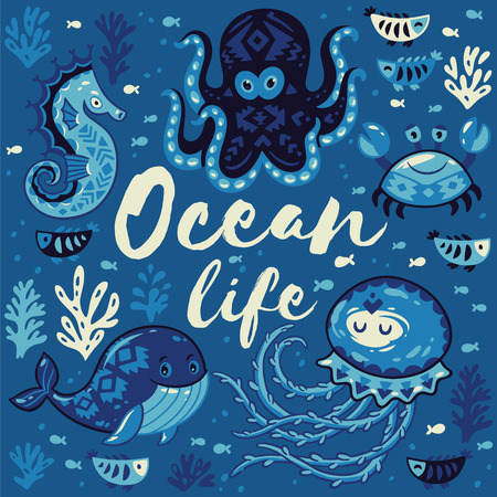 oceanside: Ocean life. Sea card with whale and jellyfish, fish and crab, seahorse and octopus. Awesome background in white and blue colors. Nautical vector card. Lovely childish card in stylish colors Illustration