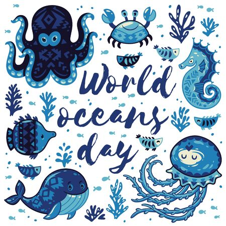 blue crab: World oceans day. Sea card with whale and jellyfish, fish and crab, seahorse and octopus. Awesome background in white and blue colors. Nautical vector card. Lovely childish card in stylish colors