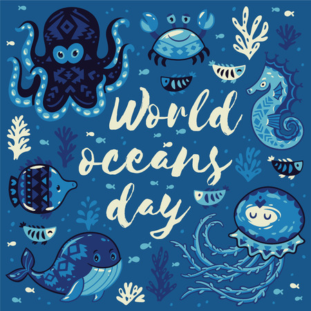 oceans: World oceans day. Sea card with whale and jellyfish, fish and crab, seahorse and octopus. Awesome background in white and blue colors. Nautical vector card. Lovely childish card in stylish colors