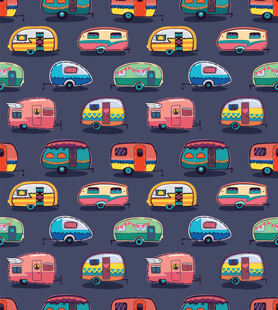 trailers: Cute little vintage travel trailers in color on a grey background. Vector seamless pattern