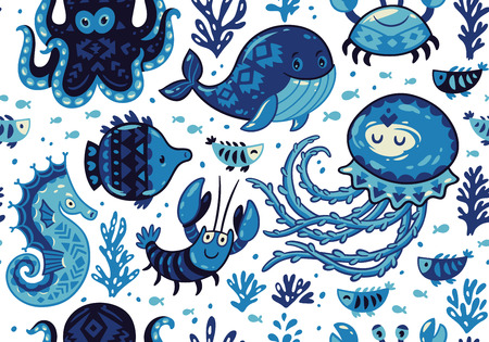 Sea seamless pattern with whale and jellyfish, fish and crab, seahorse and octopus on white background. A colourful and playful print and pattern displaying a variety a sea creatures. Illustration