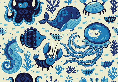 oceanside: Sea seamless pattern with whale and jellyfish, fish and crab, seahorse and octopus on light beige background. A colourful and playful print and pattern displaying a variety a sea creatures.