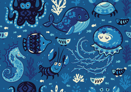 oceanside: Sea seamless pattern with whale and jellyfish, fish and crab, seahorse and octopus on dark blue background. A colourful and playful print and pattern displaying a variety a sea creatures. Illustration