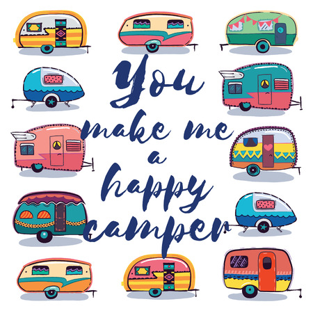 Retro Camper Fun. Happy Camper Card. Camping Travels Greeting Card. Cute little vintage travel trailers caravan. Vector illustration