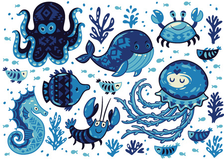 house warming: Sea poster with whale and jellyfish, fish and crab, seahorse and octopus on white background. Unique marine design. Unique t-shirt or bag design, house warming poster, greeting card illustration. Illustration