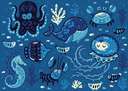oceanside: Sea poster with whale and jellyfish, fish and crab, seahorse and octopus on dark blue background. Unique marine design. Unique t-shirt or bag design, house warming poster, greeting card illustration. Illustration