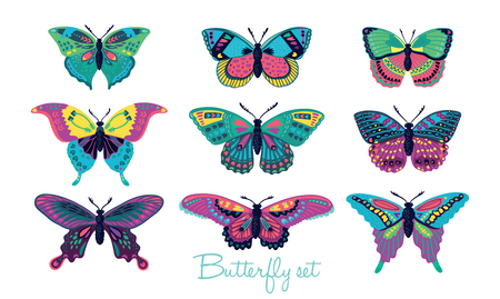 Colorful butterflies vector collection. Vector butterfly set. Butterfly colorful different types. Butterfly silhouette isolated on white background Vettoriali
