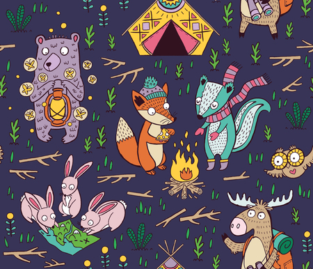 Cartoon seamless pattern. Cute childish illustration about camping in forest. Wild animals - moose, owl, fox, hare, deer and bear 向量圖像