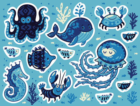 oceanside: Collection of stickers with sea animals in cartoon style. Cartoon underwater animals set sticker with whale and jellyfish, fish and crab, seahorse and octopus. Vector Illustration
