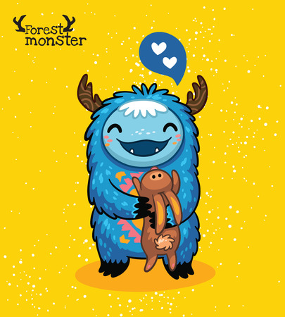 cute love: furry blue monster with hare and love in cartoon style. Post card design. Fun cute cartoon monster for kids design. Awesome childish print
