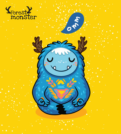cartoon demon: furry blue monster meditation in the Lotus position in cartoon style. Yoga. Post card design. Fun cute cartoon monster for kids design. Awesome childish print