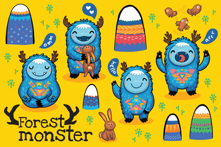 kids fun: Fun cute monsters for kids design colorful collection with mountains, birds and hares. Bright imaginary characters design elements set isolated on yellow background