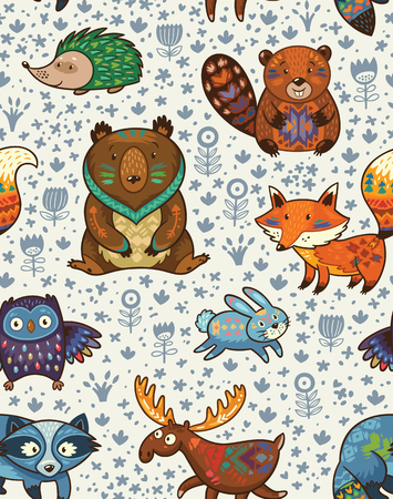 Woodland friends forest animals in white background. pattern of cute wild animals in the forest - fox, beaver, raccoon, bear, hedgehog, deer and owl. Stock Illustratie