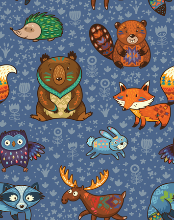 Woodland friends forest animals in blue background. pattern of cute wild animals in the forest - fox, beaver, raccoon, bear, hedgehog, deer and owl.